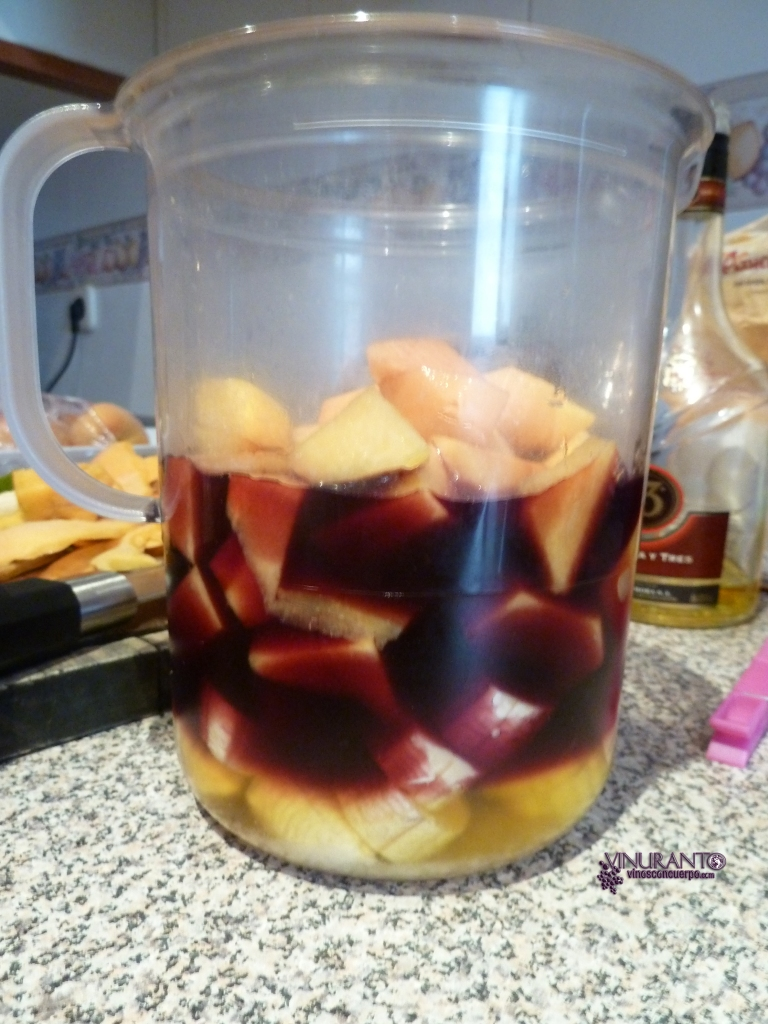 Sangria ready to mix and macerate.