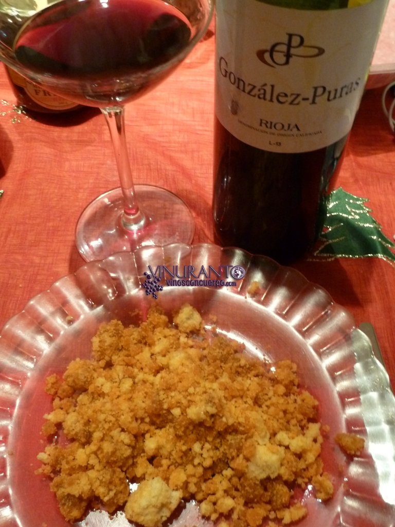 Migas with young red wine from Rioja.