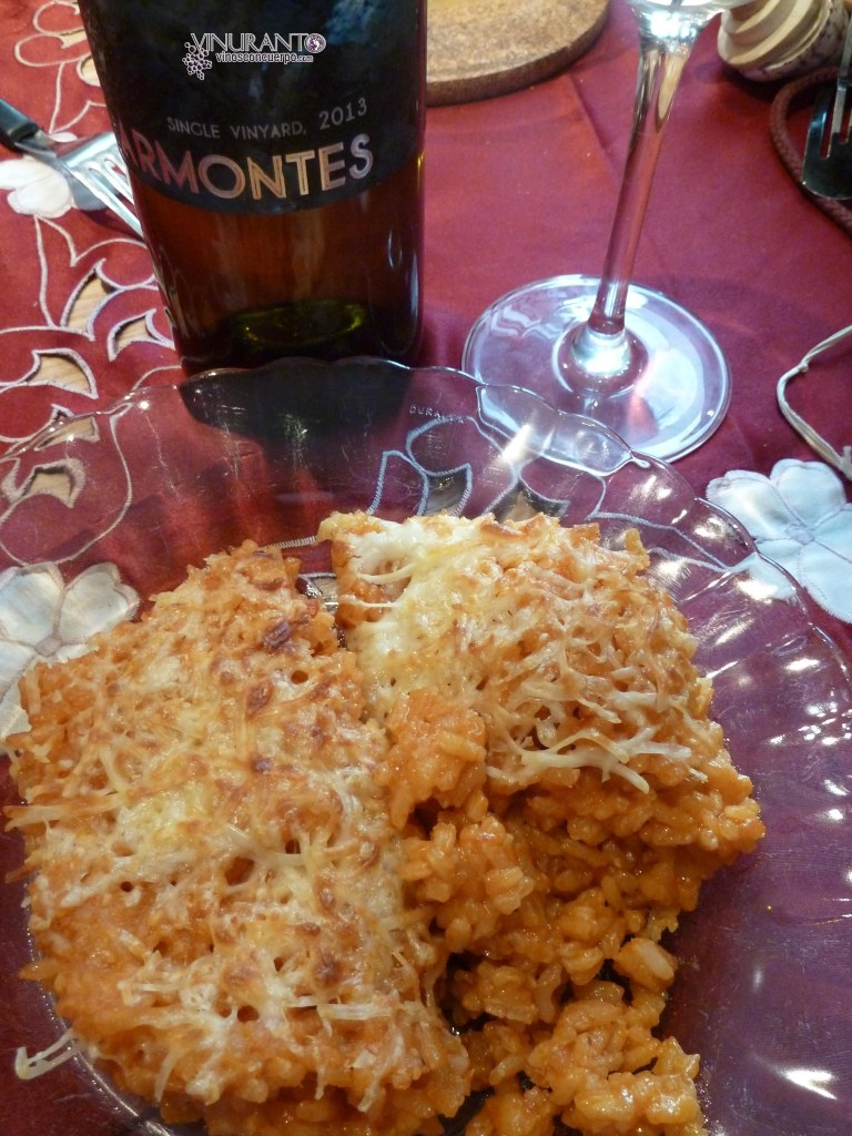Gratinéed risotto with delicious Godello.