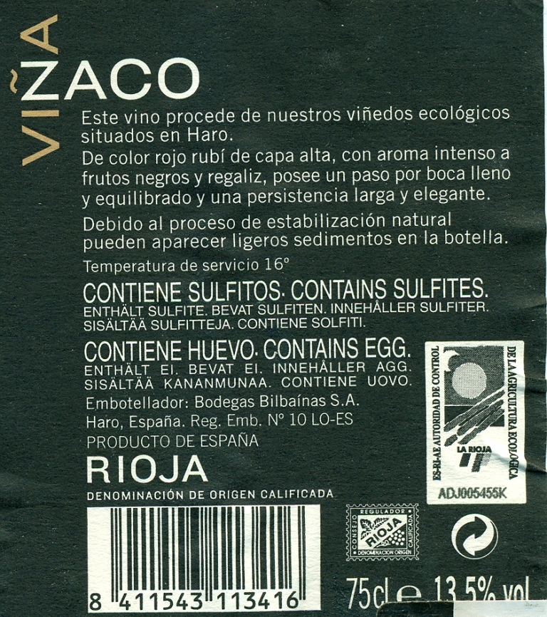 Back label.