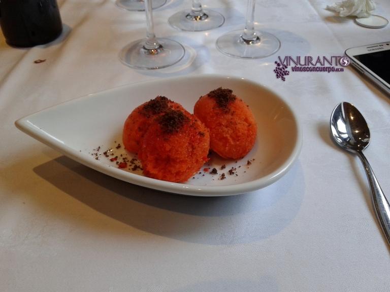 Roasted pepper ice cream. Torreblanca Restaurant (Guadarrama, Madrid-Spain)